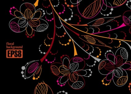 colorful flowers line draft vector