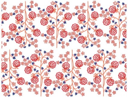 lines of small trees and flowers handpainted background vector