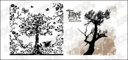 patterns and silhouettes of trees vector material