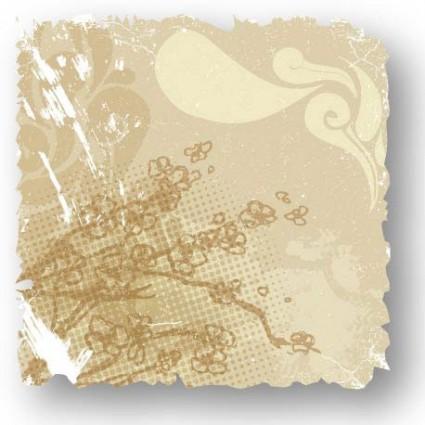 retro flower card vector