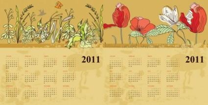 deux fleurs calendar vector