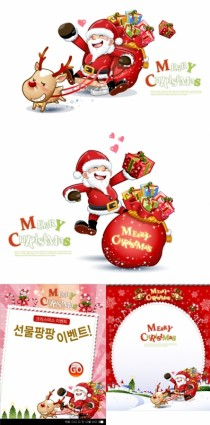 cute snowman and santa claus christmas vector