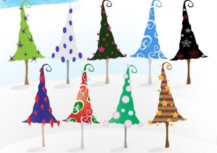 free whimsy christmas trees vectors