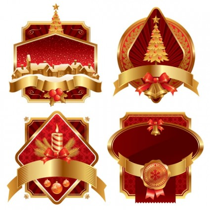 vector gold christmas label