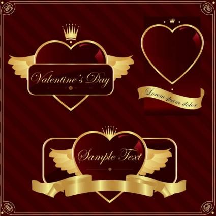 gold heartshaped vector label