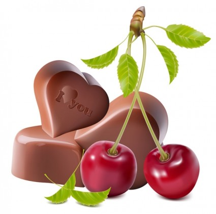 heartshaped chocolate and cherry vector