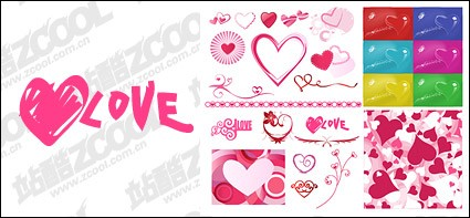number of valentine s day heart shaped elements of vector material
