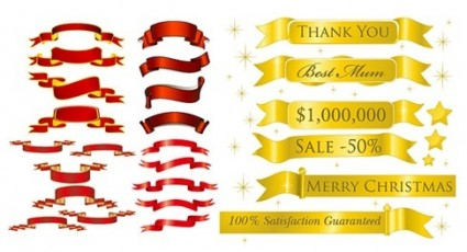 5 sets of festive ribbon banner vector material