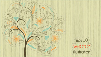 The lines illustrator of trees 01 - vector material