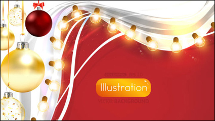 Bright Christmas lights background 03 - vector material