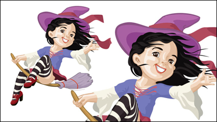 Cartoon Witch 04 - vector material