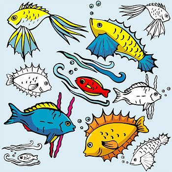 Various cartoon fish