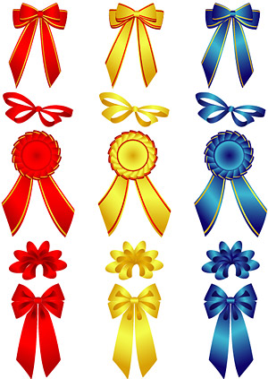 Bows and badge vector material