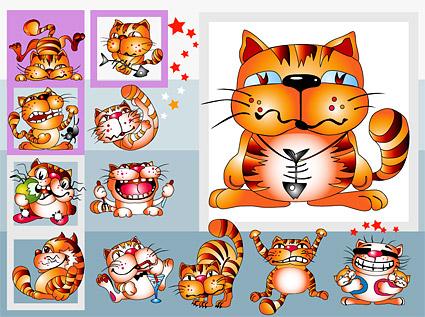 Cute cartoon cat vector material