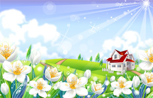 Flower countryside scenery of vector material