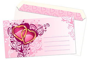 Heart-shaped logo envelope