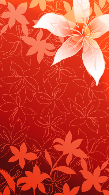 Lily flowers and line drawing vector background material