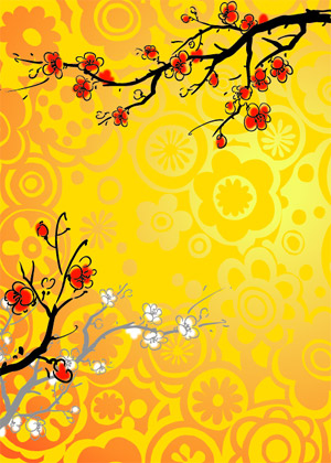 Chinese painting style Plum vector material