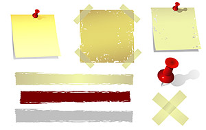 Transparent plastic and paper notes Vector