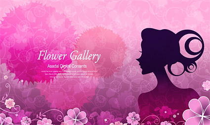 Flower and beauty vector material-4