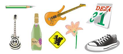 Pencils, guitar, flowers, calendar, shoes vector material