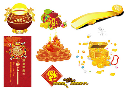 Gold and silver jewelry material New Year