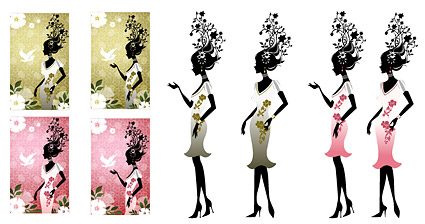 Flower and beauty vector material-2