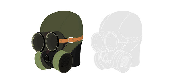 Vector material military gas masks