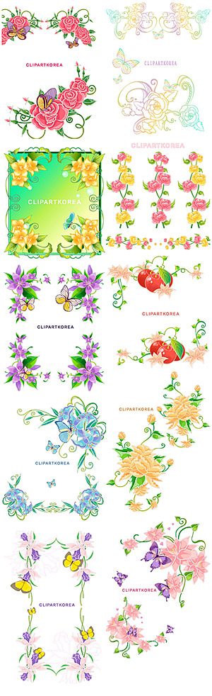 Lace, flowers and butterflies vector material