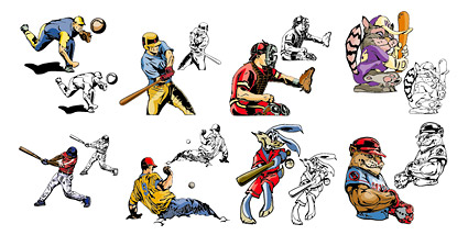 Comic style baseball