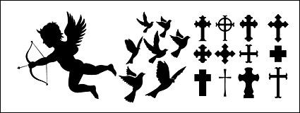 Eros, doves, crosses