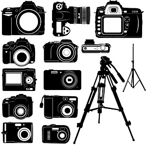 Black-and-white digital camera silhouettes vector
