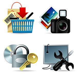 Shopping, photos, log, maintenance and other vector icon material