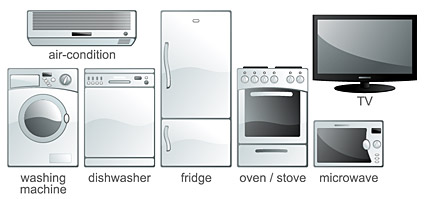 Vector material commonly used household electrical appliances