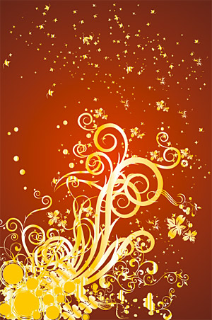 Gold gorgeous patterns Vector-12
