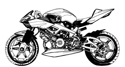Black and white motorcycle vector material