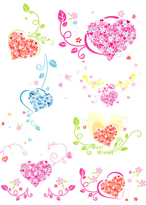 Lovely heart-shaped pattern composed of vector logo