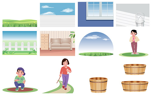 Cartoon characters and scenery material vector