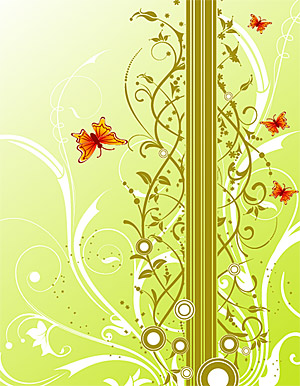 Background patterns and butterfly Vector