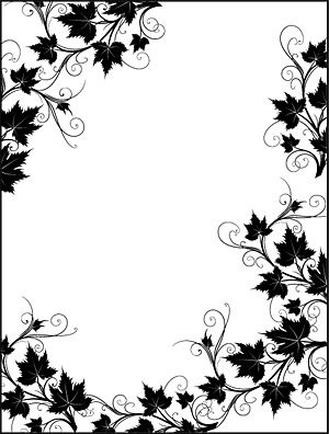Black and white rattan plant lace border Vector