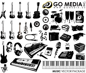 Go Media produced vector material (set8) - musical instruments