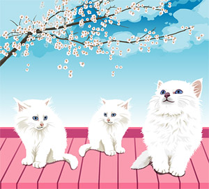 White cat vector material