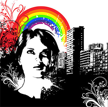 City rainbow patterns  vector