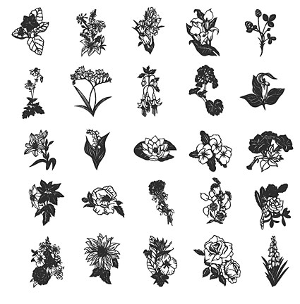 Line drawing of flowers vector material