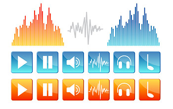 Sound elements of vector icon
