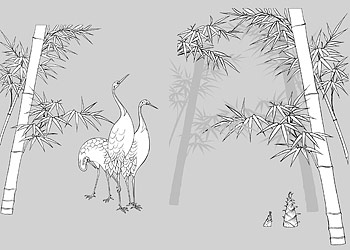 Vector line drawing of flowers-49(Bamboo, bamboo shoots, Hok)