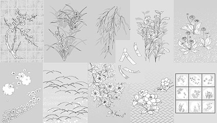 Vector line drawing of flowers -50(dandelion, lily)