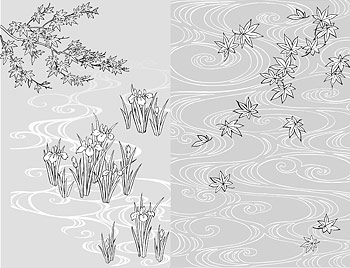 Vector line drawing of flowers-40( water, iris)