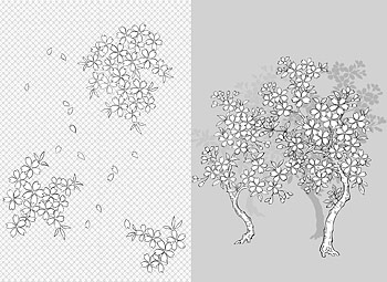 Vector line drawing of flowers--41Cherry, classical background)