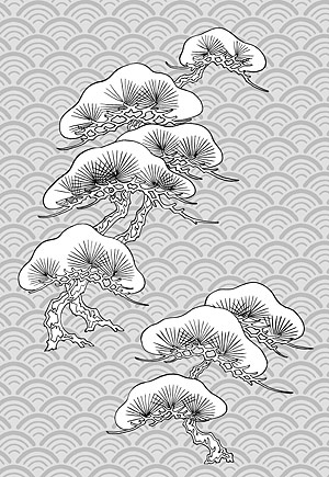 Vector line drawing of flowers-32(Pine, classical wave background)